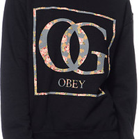 Obey Girls Boxed OG Floral Black Throwback Crew Neck Sweatshirt at Zumiez : PDP