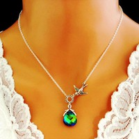 Sparrow Peacock Necklace Sterling Silver Aqua Sphinx Bird Bridal - Wedding Jewelry | Handmade