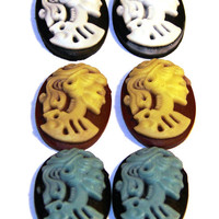 Set of 6 lolita skull resin cameos flat back by RibbonAndMore