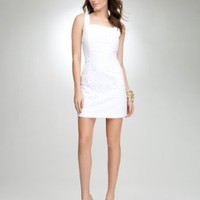 bebe Geometric Eyelet Shift Dress