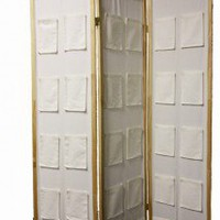ORE 3-Panel Wooden Room Divider with Pocket Holders in Natural - N1031-3-NATURAL - Room Dividers - Decor