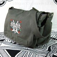 Modern Fantasy Owl Messenger Bag Green Cotton Canvas Cream Embroidery