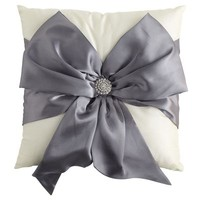 Silver Bow Silk Pillow