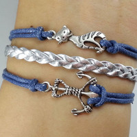 Anchor bracelet, cat bracelet --Antique Silver Bracelet -Christmas gift -  Best Chosen Gift