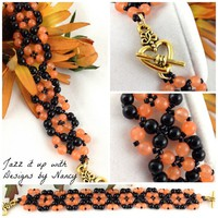Lacey Apricot Jade Black Onyx Obsidian Harvest Beaded Handmade Bangle