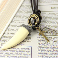 vintage style personalized wolf tooth Necklace women soft leather necklace men adjustable necklace T069