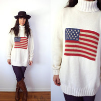 Ralph Lauren Vintage 90's American Flag Oversized Turtleneck Sweater Medium