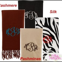 Monogrammed Cashmere Silk Blend Pashminas At The Pink Monogram