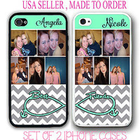 PERSONALIZED CUSTOM PHOTO GREY CHEVRON BEST FRIEND CASE FOR iPhone 4 4S 5 5S 5C