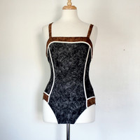 Vintage Gray and Brown Maillot Swimsuit