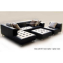 4pc Modern Euro Design Black Leather Sectional Sofa S4707L