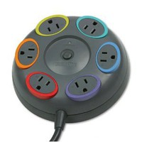 Kensington : SmartSockets Color-Coded Tbltop Surge Protector, 6 Outlets, 16ft Cord -:- Sold as 2 Packs of - 1 - / - Total of 2 Each