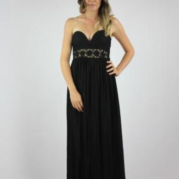Black Strapless Crochet Waist Maxi Dress
