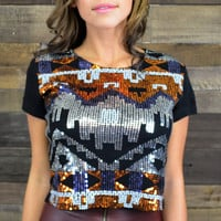 Tiki Trouble Aztec Embellished Crop Top
