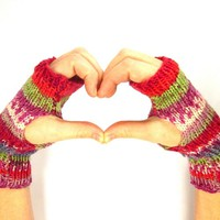 Knit Fingerless Gloves Pink Stripe Mittens Hand Warmers Women Teen