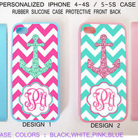 CUSTOM PERSONALIZED MINT PINK CHEVRON ANCHOR MONOGRAM CASE FOR IPHONE 4S 5 5S 5C