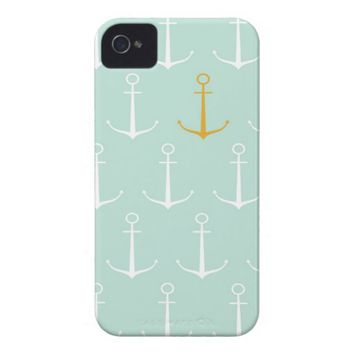 Nautical anchors preppy girly blue anchor pattern iPhone 4 case