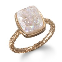 Charm & Chain | Nadia Stackable Druzy Ring, Halo