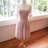 Marie Antoinette Dress - Romantic, Grey Dress With Lace And Silk Chiffon Trimming | Luulla