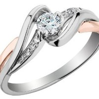Diamond Engagement Ring 1/4 Carat (ctw) in 10K White and Rose Pink Gold , Size 6.5
