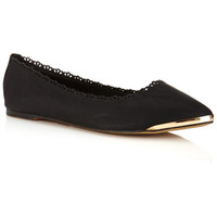 Doodle Black Scalloped Flat - Flat Shoes  - Shoes