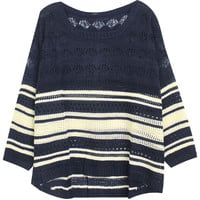 ROMWE | Asymmetric Hollowed Striped Blue Jumper, The Latest Street Fashion
