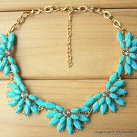 Blue Floral Necklace, Jcrew Style Statement Bib, Wedding Party Jewlery, Free Gift Box Packaging Available