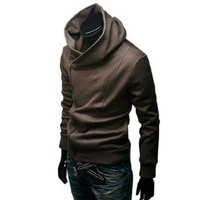Allegra K Men Long Sleeve Fleece Lined Hooded Zip up Sweatshirt Coffee S