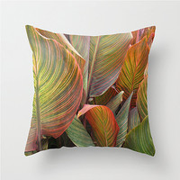 Striped canna lilies pillow cover cushion cover