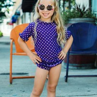 RuffleButts.com - Grape Polka Dot Ruffled Rash Guard Bikini