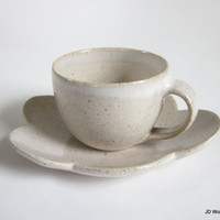 speckled white demitasse with cloud saucer - made to order