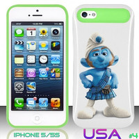 USA Design #4 - IPhone 5 5S Glow in Dark Case # smurfs 2 @ Cover for IPhone 5 5S