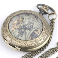 Vintage brass pocket mechanical watch pendant long chain necklace by 81stgeneration