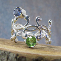 silver vine ring with aquamarine and peridot gemstone and statement ring