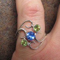 Sterling Silver Blue Topaz and Peridot Ring