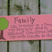 Family coral family tree country decor Sign by ifrogcrafts on Etsy