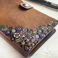 Floral Leather Journal and Sketchbook - Custom Monogram - Hand Tooled Leather Diary - Personalize with Any Initial