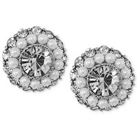 Carolee Earrings, Silver-Tone Crystal and Imitation Pearl Round Button Earrings - Fashion Earrings - Jewelry & Watches - Macy's