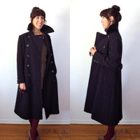 Wool Navy Military Style Vintage 60's Long Coat