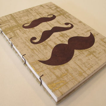Mustache Handmade Journal Notebook Gold and by PaperJayneDebbie