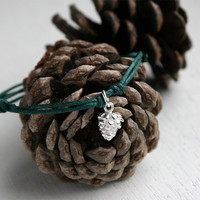 Silver Pine Cone Bracelet / Pine Cone Anklet (many colors to choose)