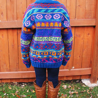vintage oversized cowichan bright colored wool blend sweater. hipster sweater. cosby sweater