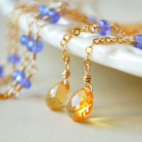NEW Citrine Lariat, Tanzanite Gemstone Necklace, Minimalist Gold Jewelry, Golden Yellow and Periwinkle Blue, Wire Wrapped, Free Shipping