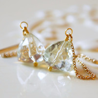NEW Green Amethyst Earrings, Prasiolite Jewelry, Pale Mint, Trillion Shaped Gemstones, Gold Filled, Wire Wrapped, Free Shipping