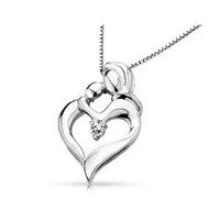 Heart Shaped Mothers Love Pendant with Diamond in Sterling Silver with Chain