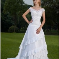 Off The Shoulder V-neck Lace Applique Layered Taffeta Wedding Dress