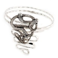 Rhodium Plated 'Snaky Knot' Upper Arm Bracelet Armlet