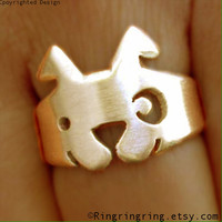 Bronze Adjustable animal ring jewelry Cute spot by RingRingRing