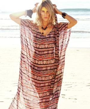 Mara Hoffman Long Jungle White Chiffon Tunic Cover up
