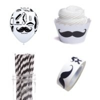 Dress My Cupcake Mustache Party Kit with Straws/Balloons